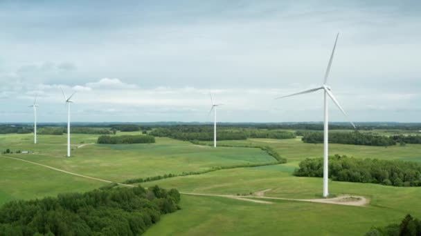 Aerial view of wind turbine farm in countryside