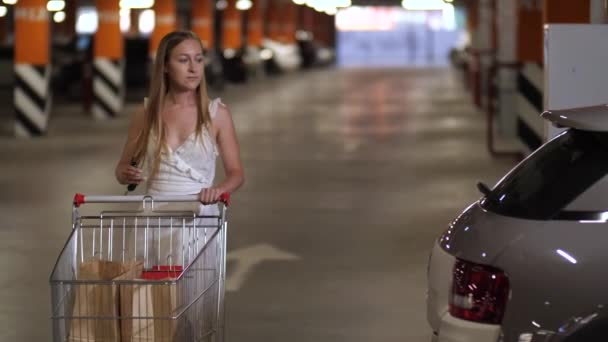 Female walking with shopping cart to car trunk