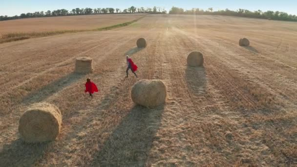 Drone shot az apa és fia játszik felzárkózni szabadtéri