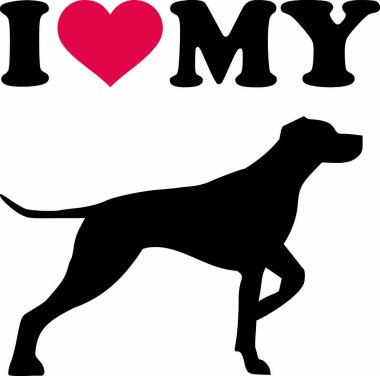 I love my german shorthaired pointer with red heart and silhouette