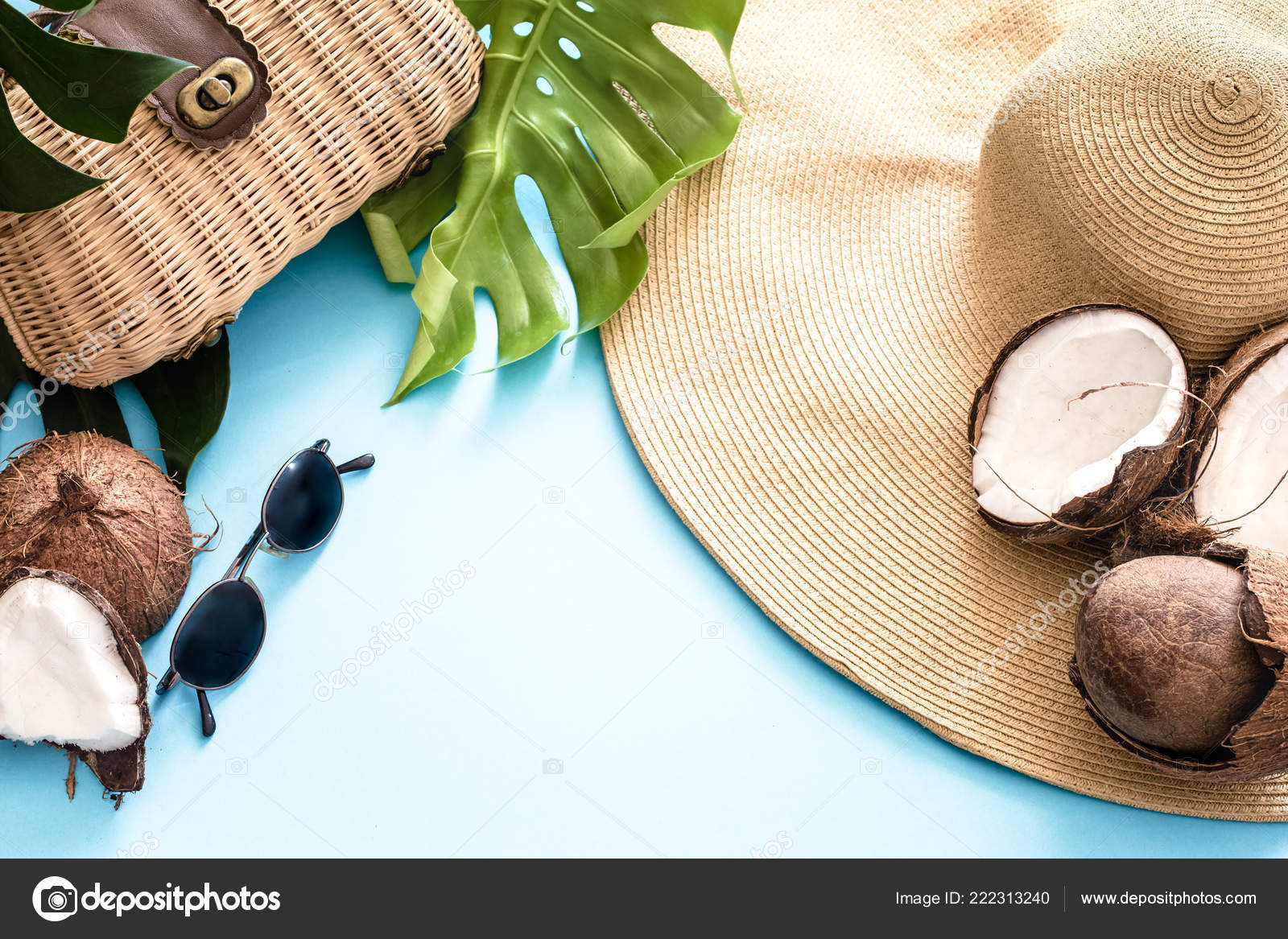 Colorful Summer Coconuts Beach Hat Blue Background Real Tropical Leaves Stock Photo C Puhimec 222313240 Flat lay, top view, and discover more than 6 million professional stock photos on freepik. depositphotos