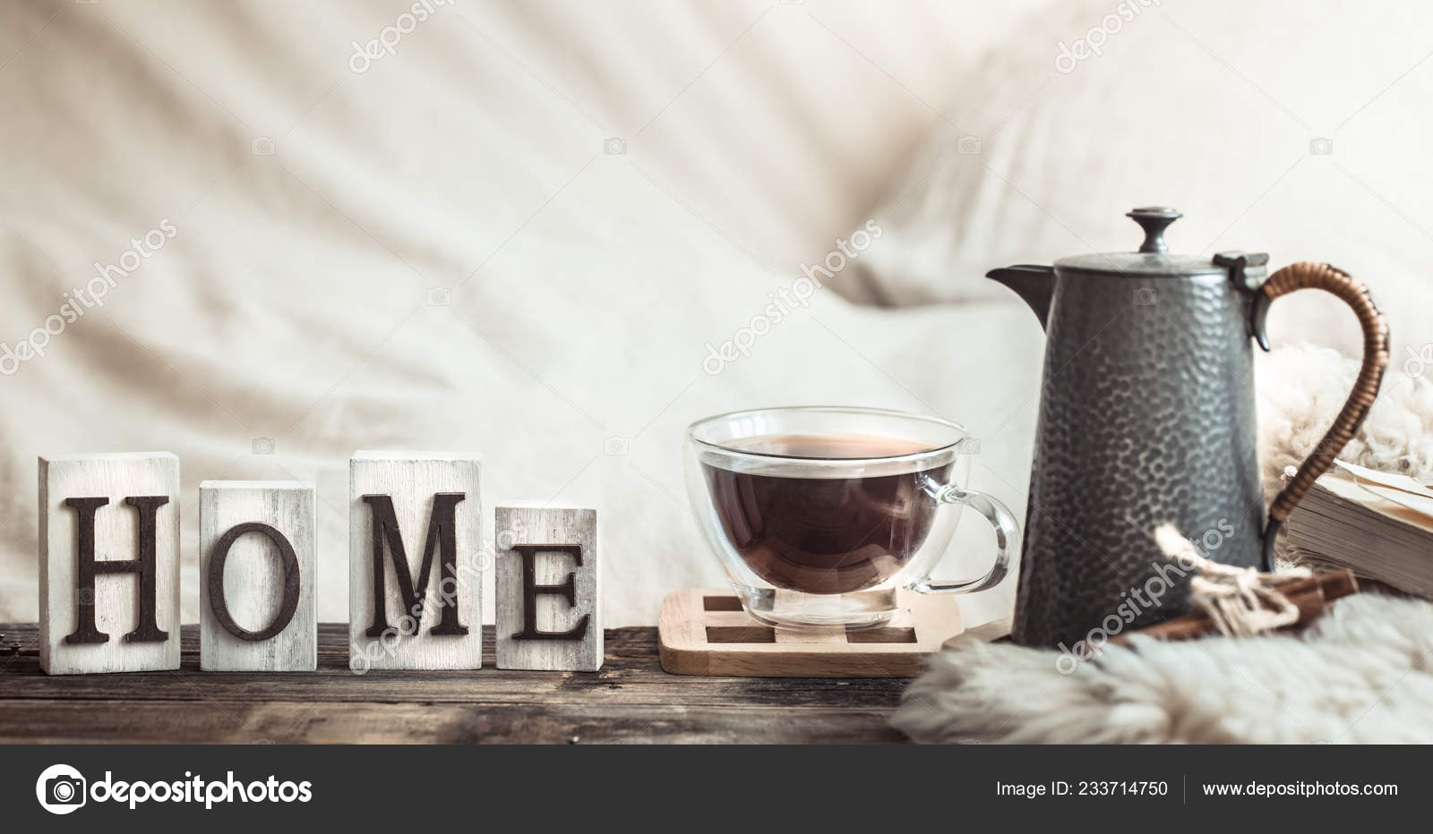Home Atmosphere Interior Wooden Letters Decor Items Comfort Concept Stock Photo