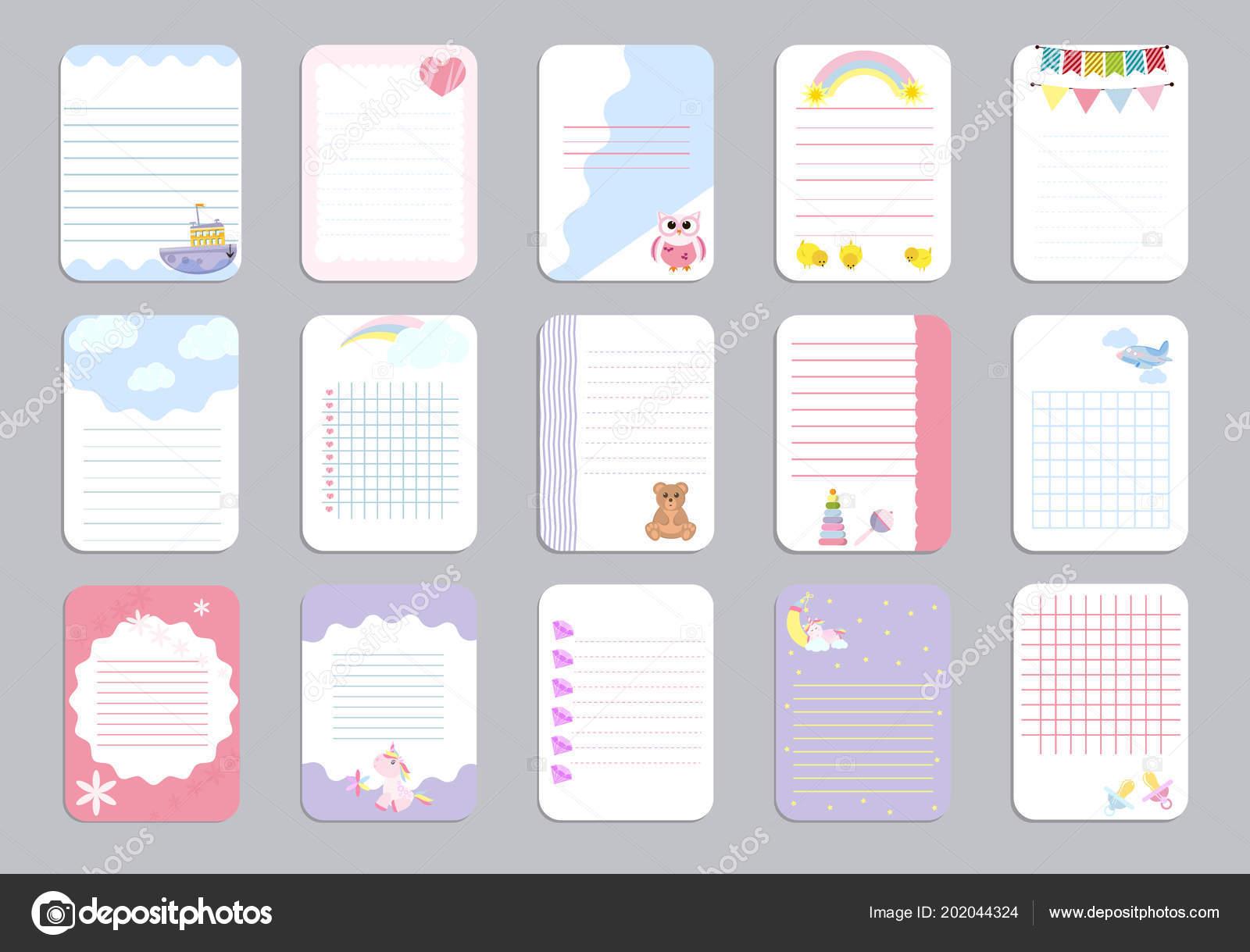 A los niños tarjetas de vector de plantilla de página de cuaderno ...