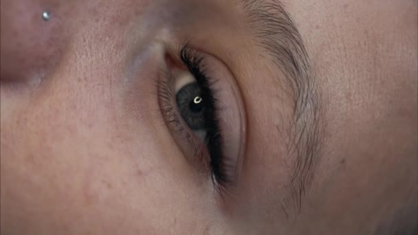 Eyelash extension on the female eye.