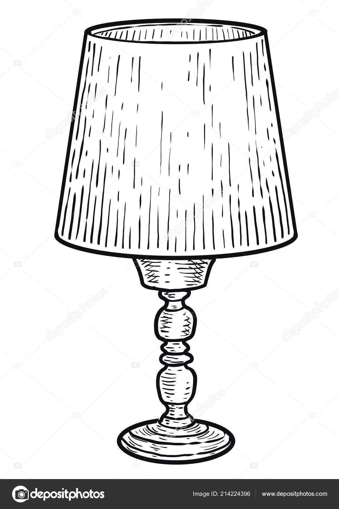 Pictures Lamp For Drawing Table Lamp Illustration Drawing Engraving Ink Line Art Vector Stock Vector C Jenesesimre 214224396