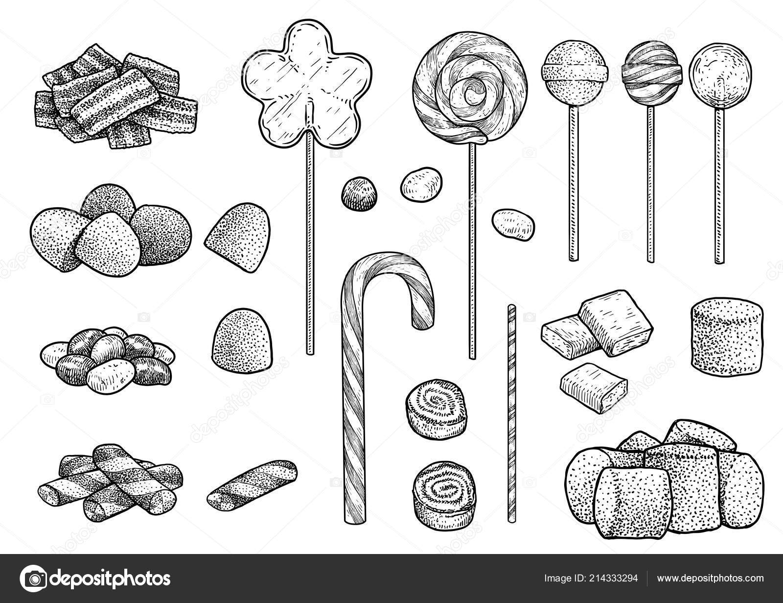 candy collection illustration drawing engraving ink line art vector