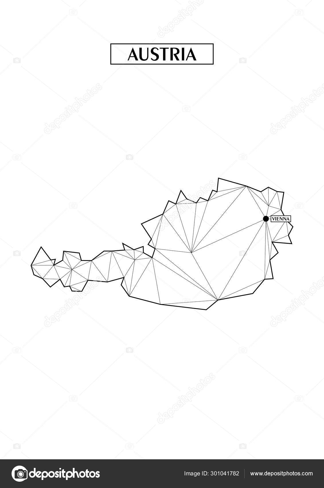 Polygonal abstract map of Austria with connected triangular ...
