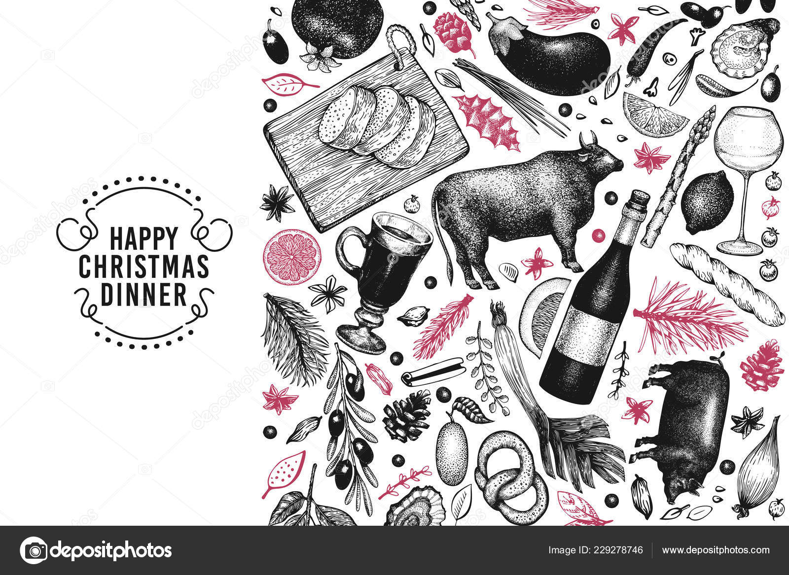 Happy Christmas Dinner Design Template Vector Hand Drawn