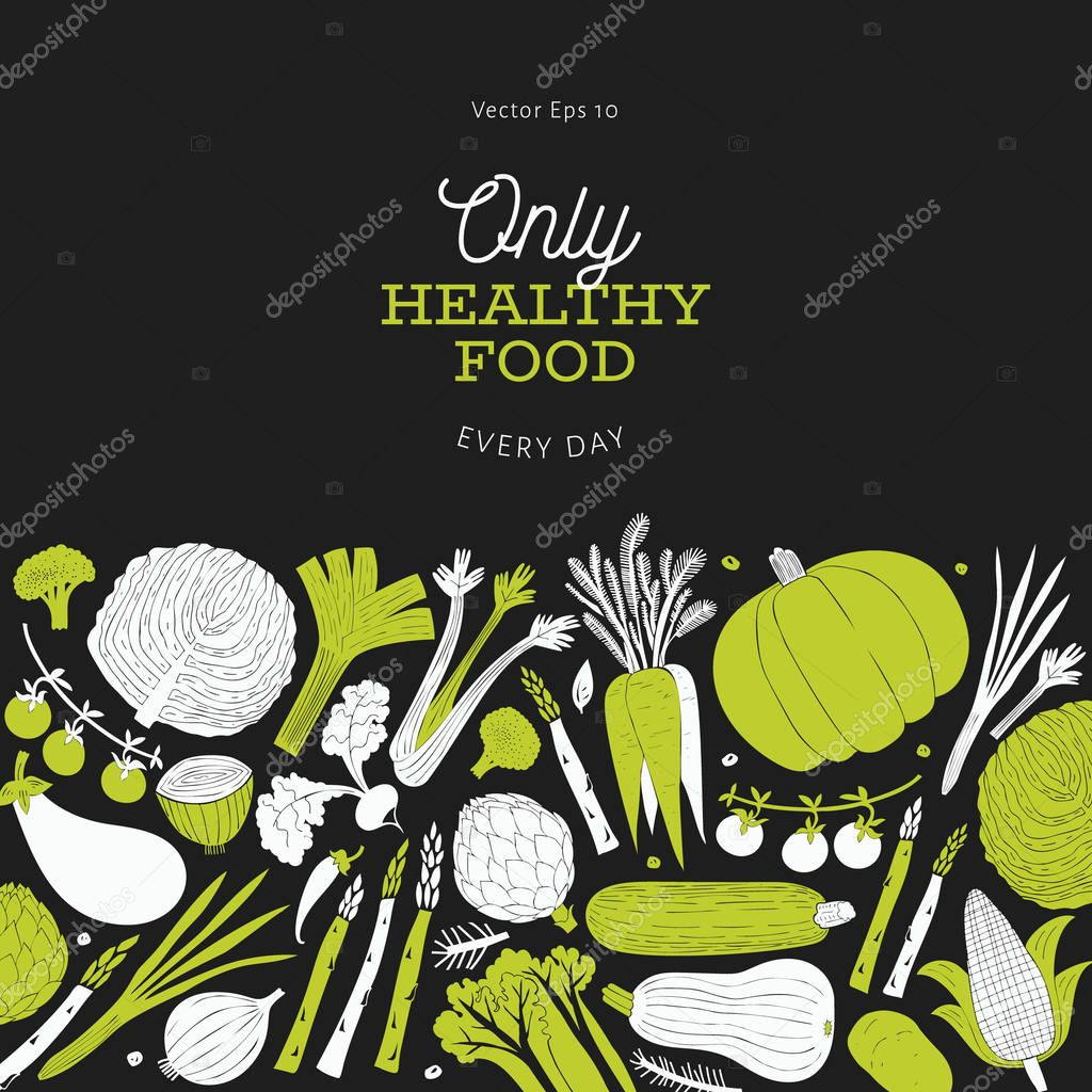 Cartoon Hand Drawn Vegetables Design Template Food Background Linocut Style Healthy Food Vector Illustration On Dark Background Premium Vector In Adobe Illustrator Ai Ai Format Encapsulated Postscript Eps Eps Format