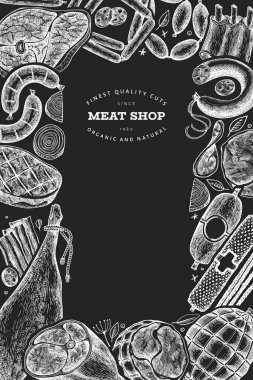 Retro vector meat products design template. Hand drawn ham, sausages, jamon, spices and herbs. Retro illustration on chalk board. Can be use for restaurant menu.