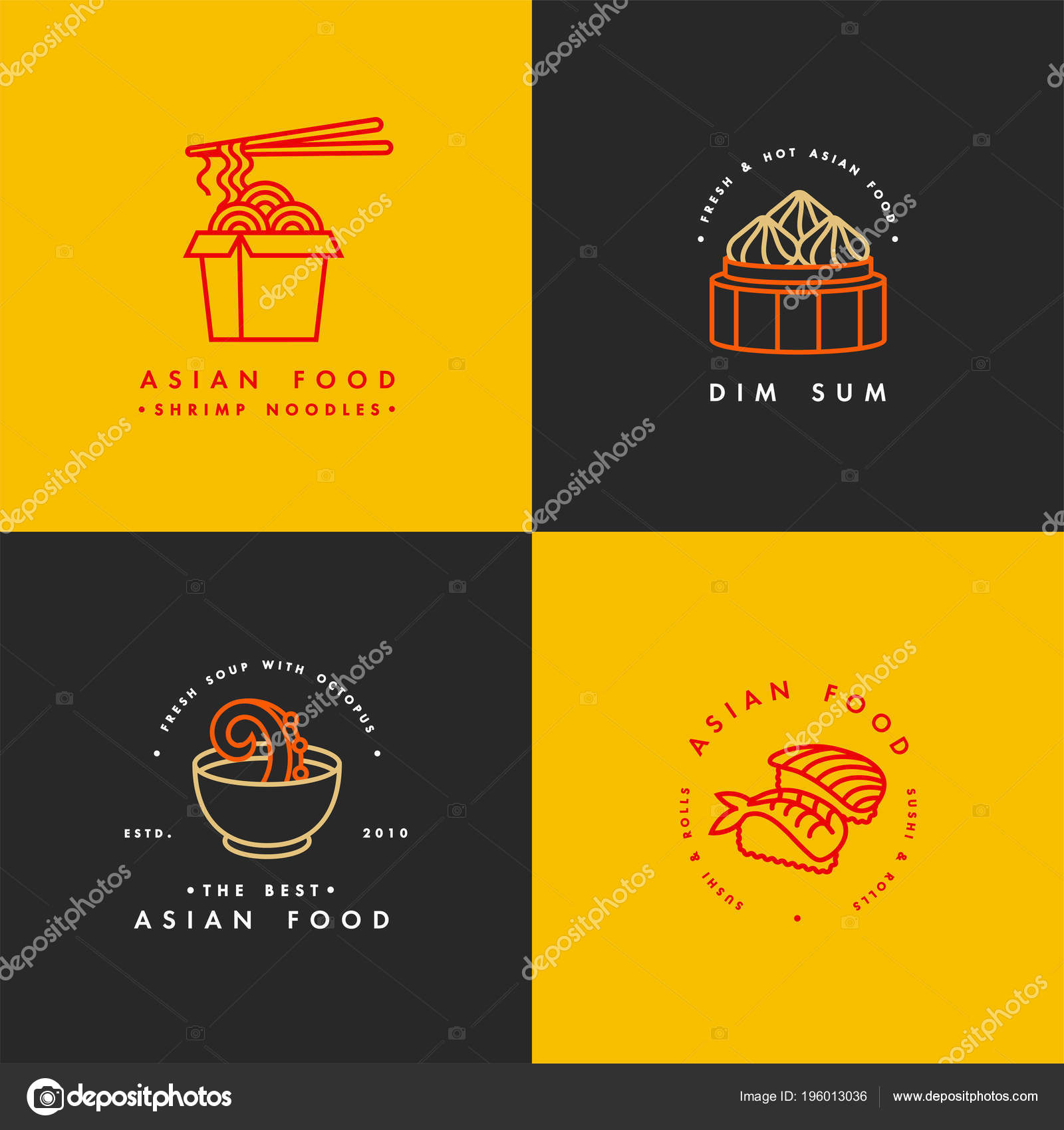 Vector Set Of Logo Design Templates And Emblems Or Badges Asian
