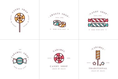 Vector set design colorful templates logo and emblems - lollipops with sprinkles caramel candies. Different sweets icon. Logos in trendy linear style isolated on white background.
