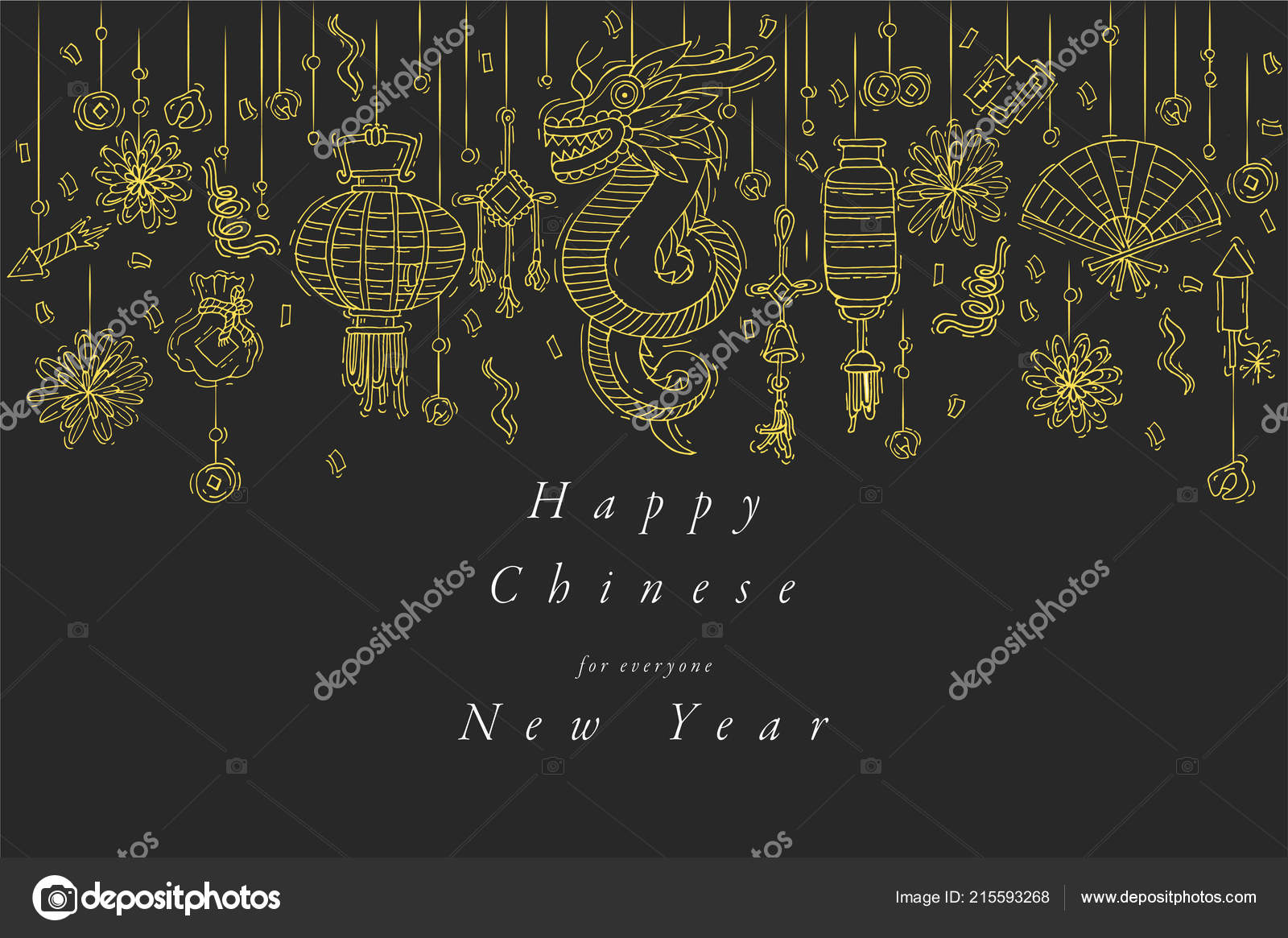 vector hand draw design for chinese new year greetings card golden color typography and icon
