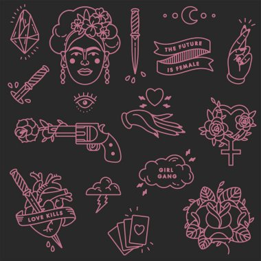Girl power quote. Icon set fashion symbol with portrait of Frida Kahlo, diamond, roses and feminine symbols. Patch badges. Vector stickers, pins. Feminism slogan. Woman right clip art vector