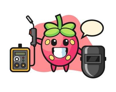 Strawberry cartoon as a welder