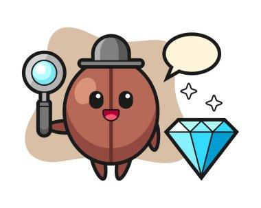 Coffee bean cartoon with a diamond