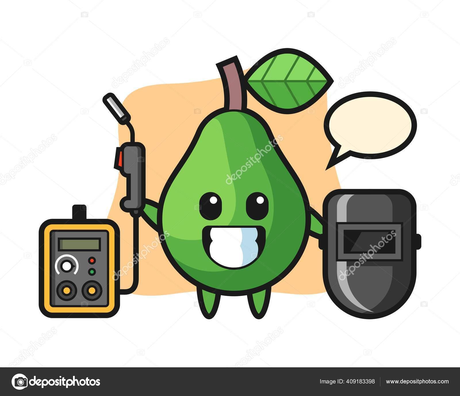 Character Mascot Avocado Welder Stok Vektor C Heriyusuf Rap Gmail Com 409183398