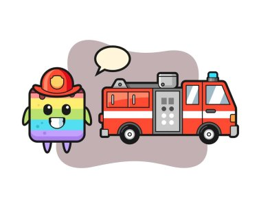 Mascot character of rainbow cake as a firefighter icon