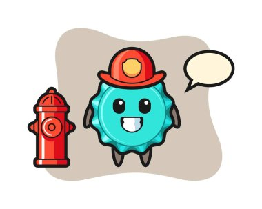 Mascot character of bottle cap as a firefighter icon