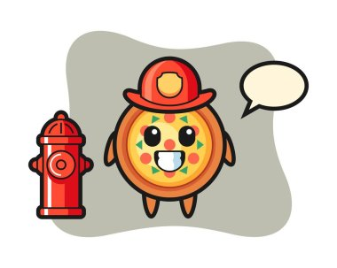 Mascot character of pizza as a firefighter icon