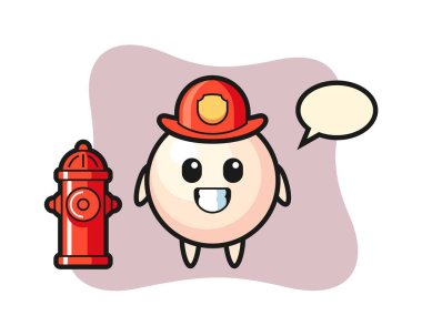 Mascot character of pearl as a firefighter icon