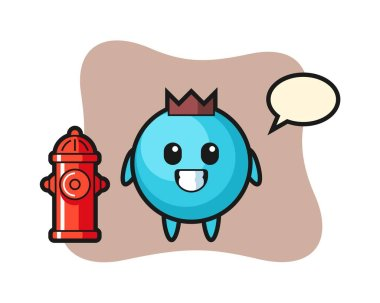 Mascot character of blueberry as a firefighter icon