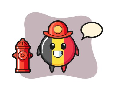 Mascot character of belgium flag badge as a firefighter icon