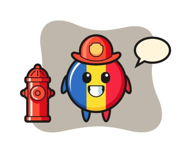 Mascot character of romania flag badge as a firefighter icon