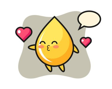 Honey drop character cartoon with kissing gesture icon