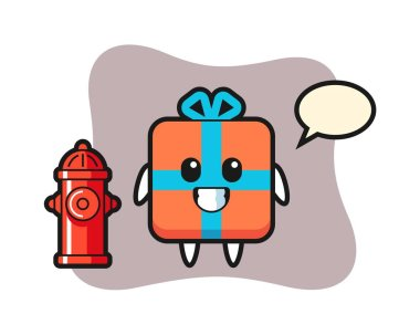 Mascot character of gift box as a firefighter icon