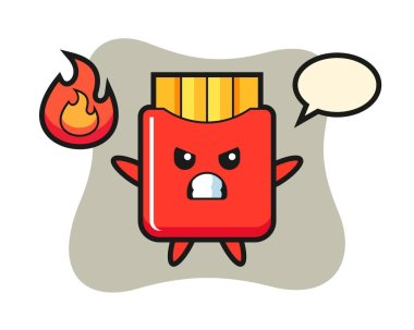 French fries character cartoon with angry gesture icon