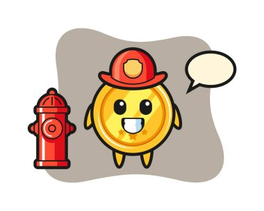 Mascot character of medal as a firefighter icon