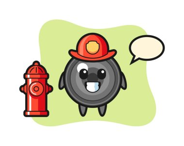 Mascot character of camera lens as a firefighter icon