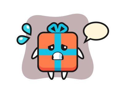 Gift box mascot character with afraid gesture icon