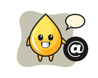 Cartoon illustration of honey drop standing beside the At symbol icon