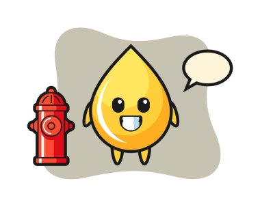 Mascot character of honey drop as a firefighter icon