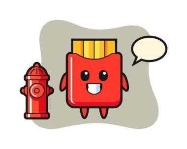 Mascot character of french fries as a firefighter icon