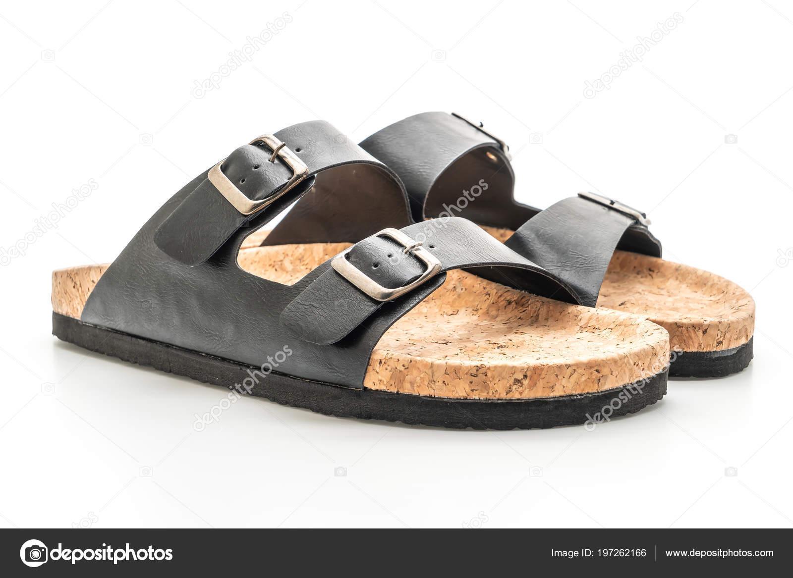 91e85a9dbfc78 Men Women Unisex Fashion Leather Sandals Isolated White Background — Stock  Photo