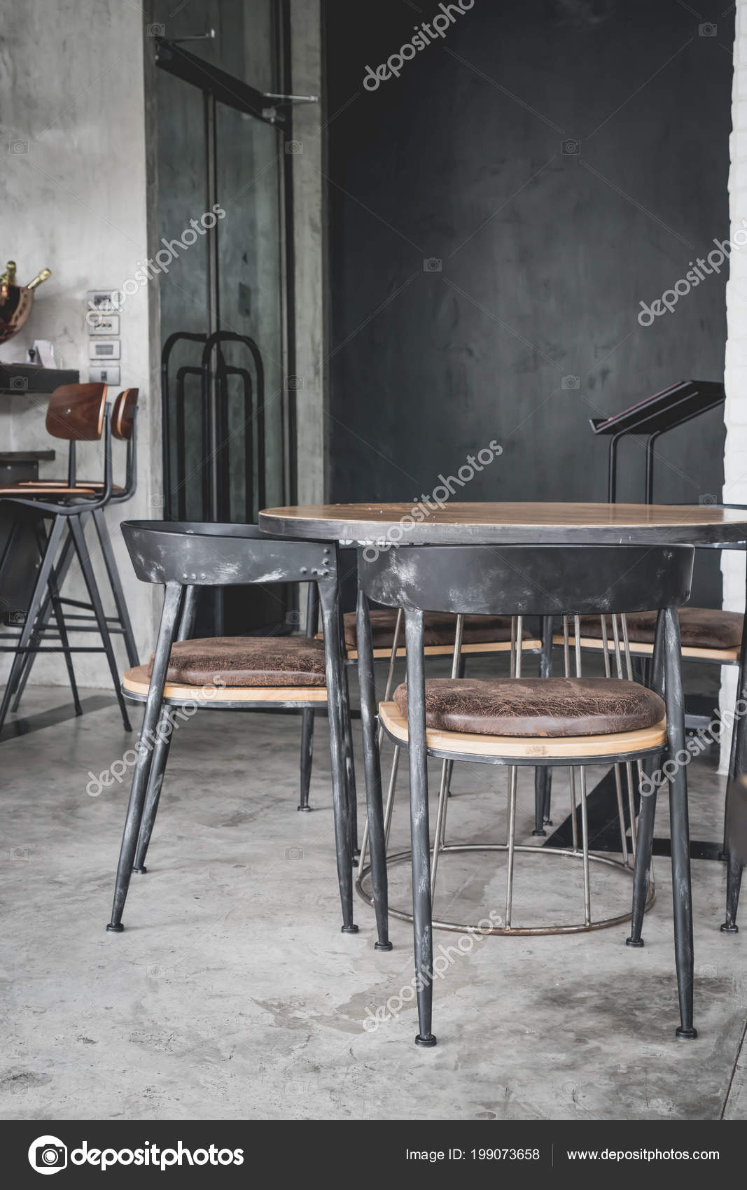 Empty Table Chair Restaurant Cafe Vintage Effect Filter Stock Photo C Topntp 199073658