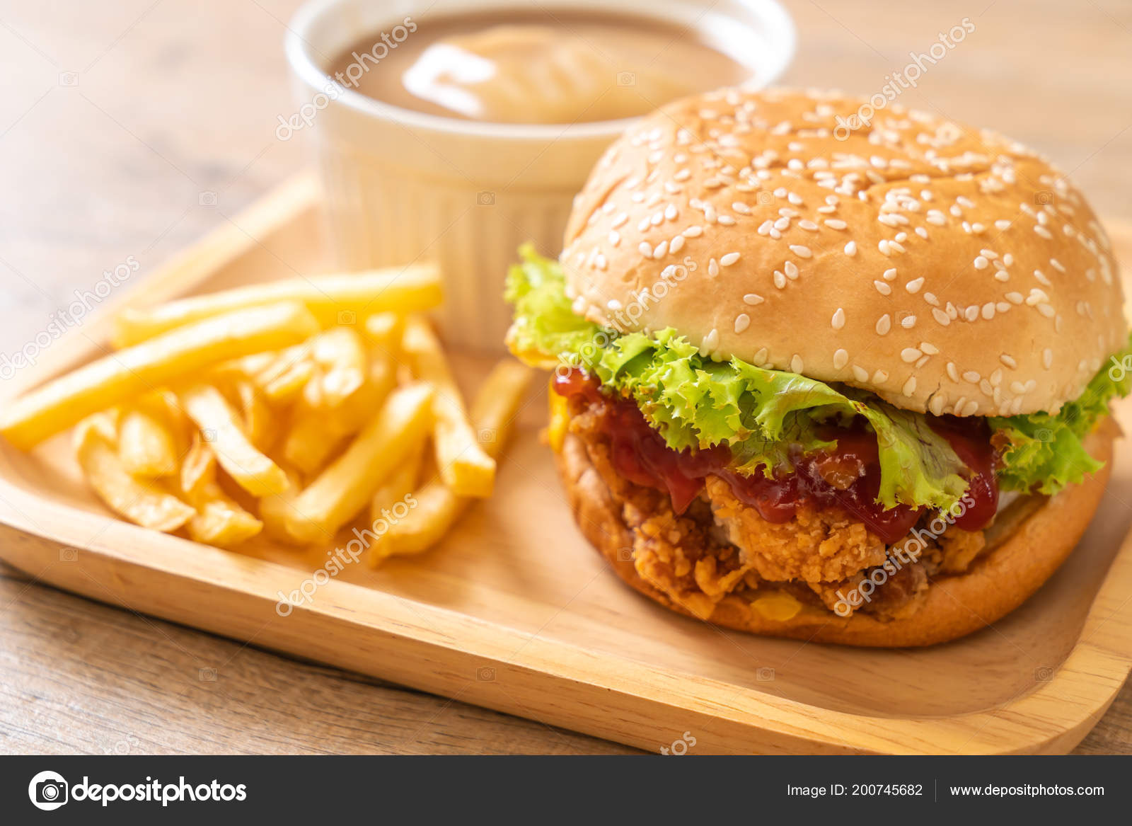 Fried Chicken Burger Unhealthy Food Style — Stock Photo