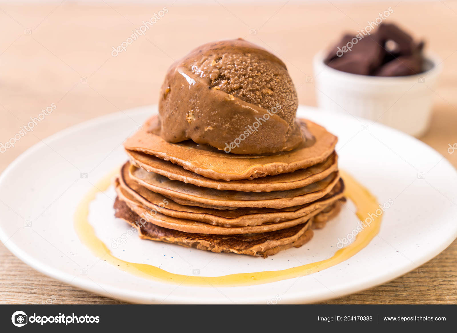 Pancake Chocolate Ice Cream Plate Stock Photo Image By C Topntp 204170388