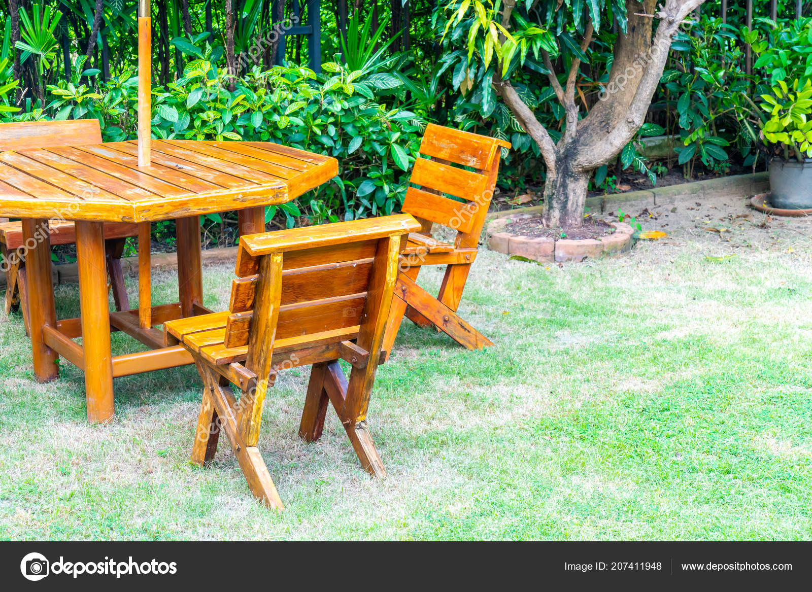 Empty Wood Outdoor Patio Table Chair Decoration Home Garden ...