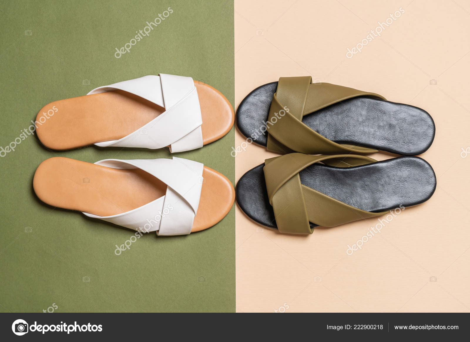 b23284631 Beautiful Fashion Female Woman Leather Sandals — Stock Photo ...