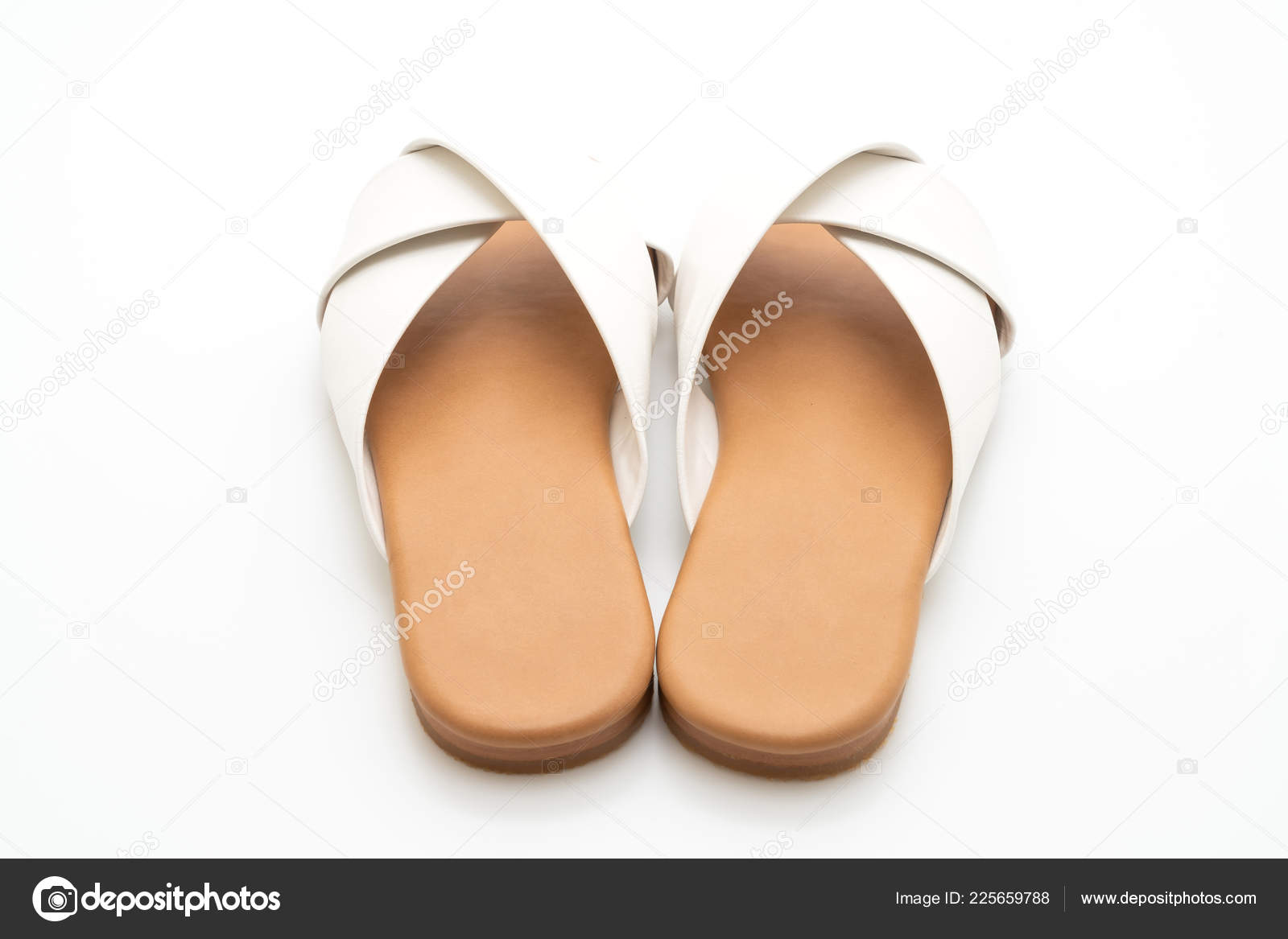 85d601ebd Beautiful fashion female and woman leather sandals isolated on white  background– stock image