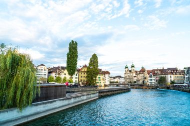 Historic city center of Lucerne with famous Chapel Bridge in Swi