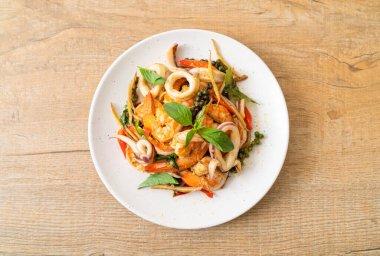 stir fried spicy sea food (Pad Cha Talay) - Thai food style