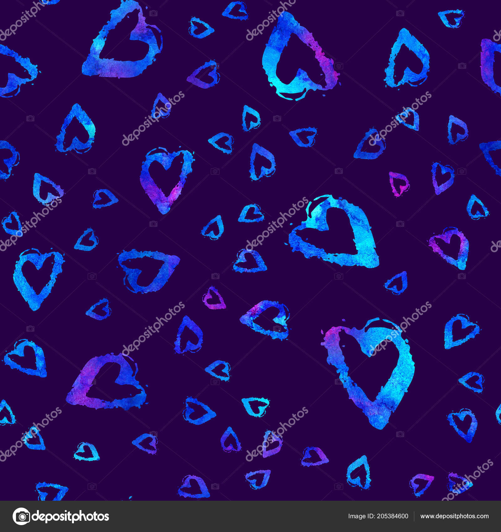 Seamless Pattern With Brush Hearts Blue Color On Dark