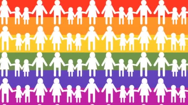 gay families icons, on rainbow flag background