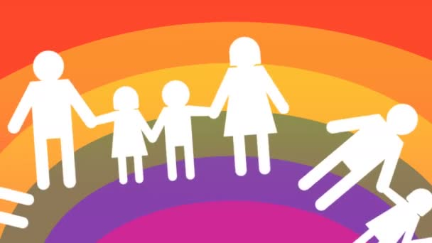 gay families icons, approved on rainbow flag background