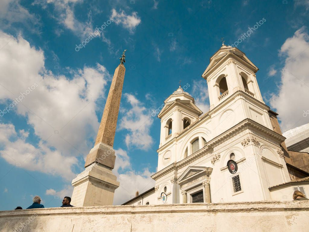 view of the Spanish Steps in Rome with blue sky